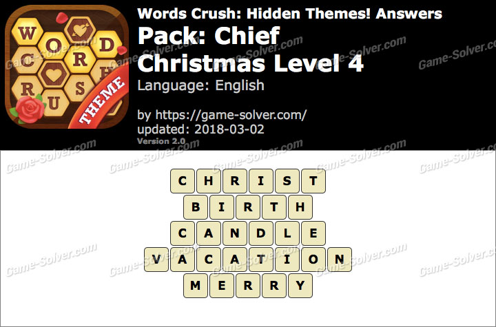 Words Crush Chief-Christmas Level 4 Answers