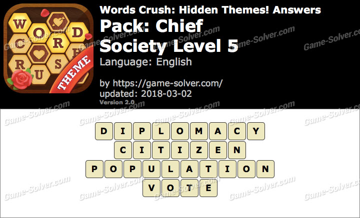 Words Crush Chief-Society Level 5 Answers