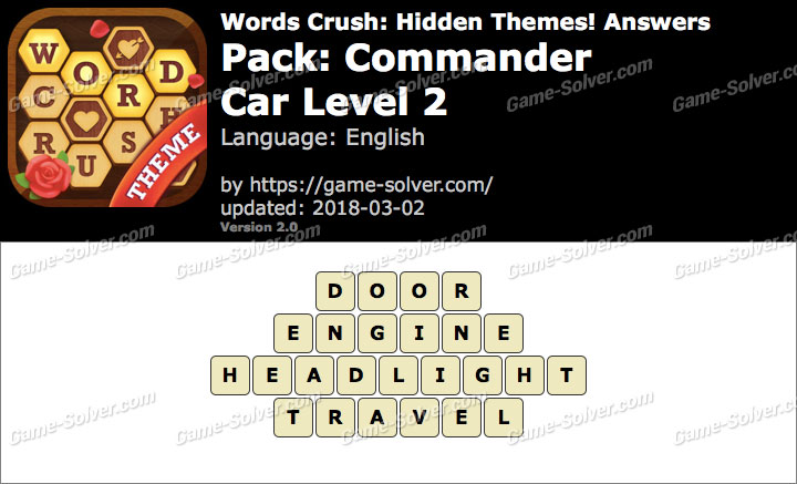 Words Crush Commander-Car Level 2 Answers