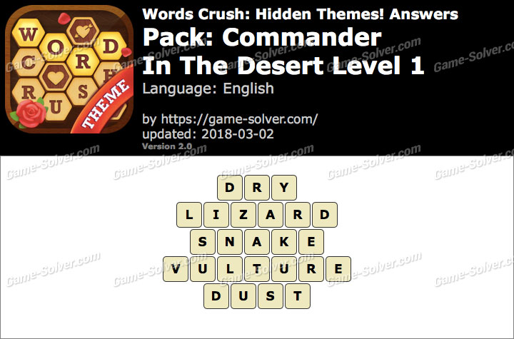 Words Crush Commander-In The Desert Level 1 Answers