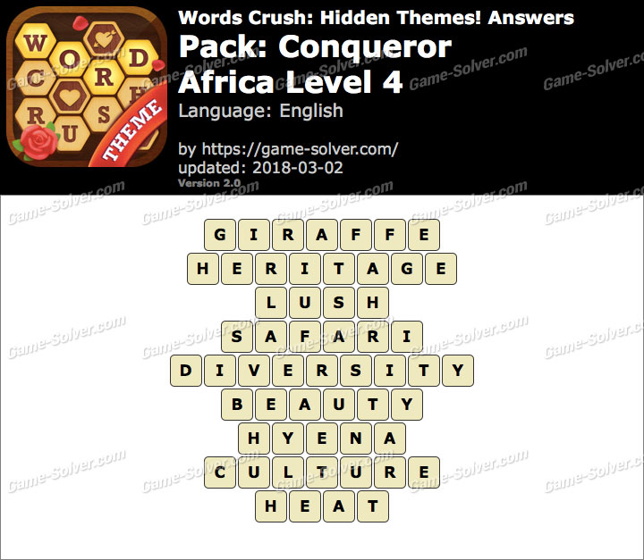 Words Crush Conqueror-Africa Level 4 Answers