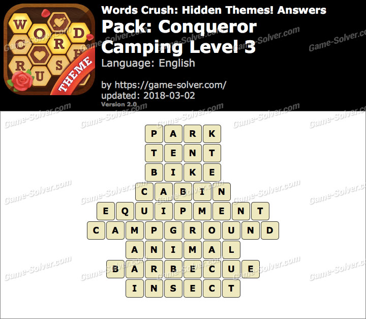 Words Crush Conqueror-Camping Level 3 Answers