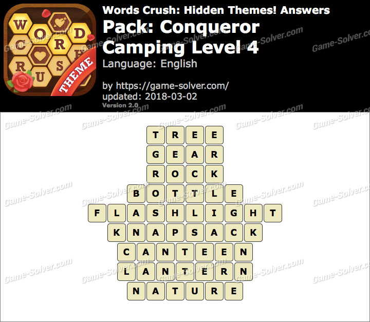 Words Crush Conqueror-Camping Level 4 Answers