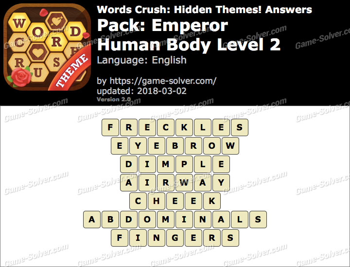 Words Crush Emperor-Human Body Level 2 Answers