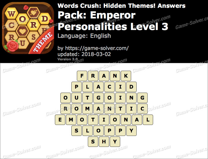Words Crush Emperor-Personalities Level 3 Answers
