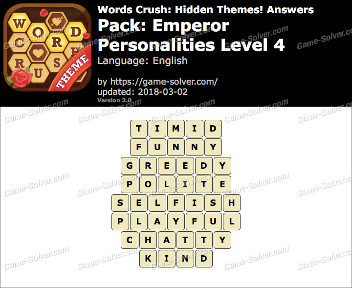 Words Crush Emperor-Personalities Level 4 Answers