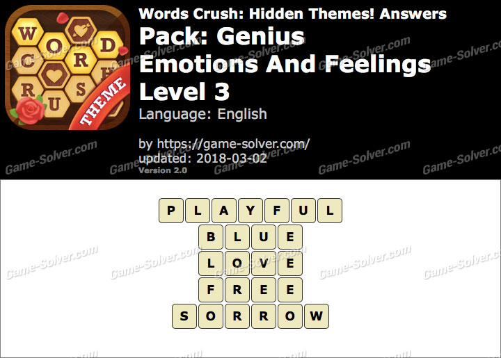 Words Crush Genius-Emotions And Feelings Level 3 Answers