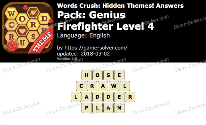 Words Crush Genius-Firefighter Level 4 Answers