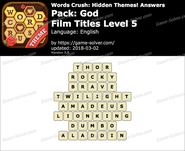 Words Crush God-Film Titles Level 5 Answers