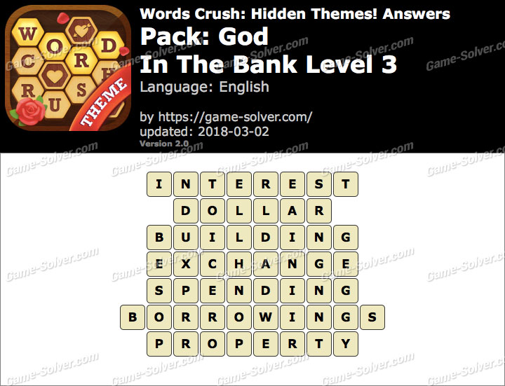 Words Crush God-In The Bank Level 3 Answers