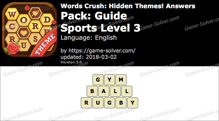 Words Crush Guide-Sports Level 3 Answers