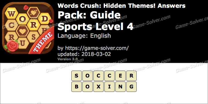 Words Crush Guide-Sports Level 4 Answers