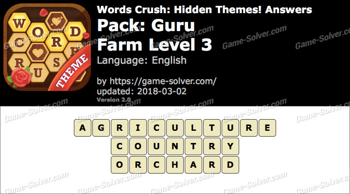 Words Crush Guru-Farm Level 3 Answers