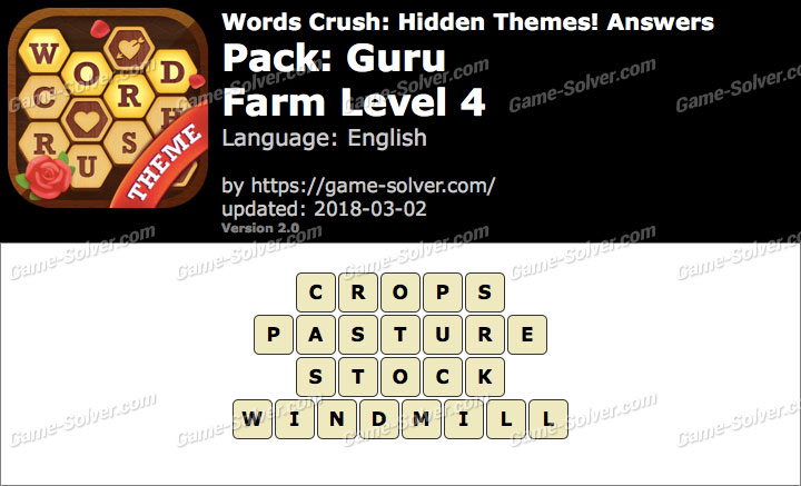 Words Crush Guru-Farm Level 4 Answers