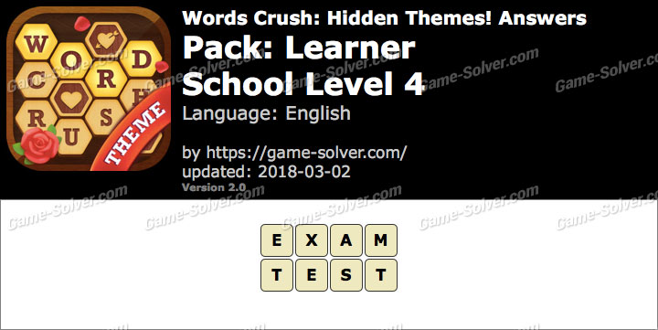 Words Crush Learner-School Level 4 Answers
