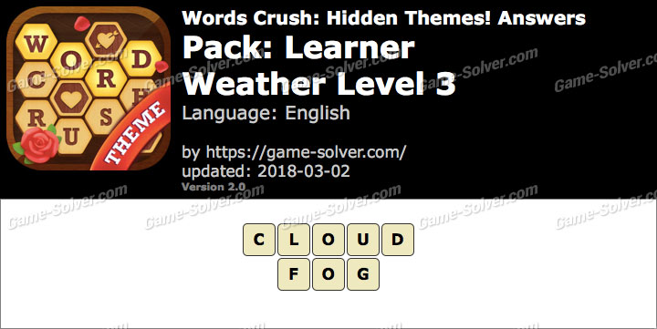Words Crush Learner-Weather Level 3 Answers