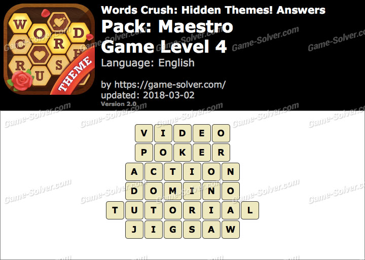 Words Crush Maestro-Game Level 4 Answers
