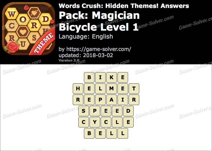 Words Crush Magician-Bicycle Level 1 Answers