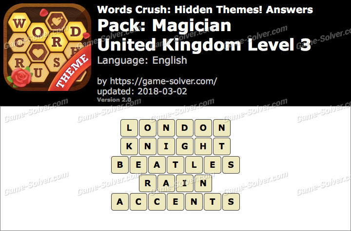 Words Crush Magician-United Kingdom Level 3 Answers