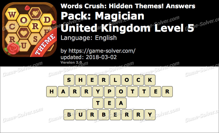 Words Crush Magician-United Kingdom Level 5 Answers