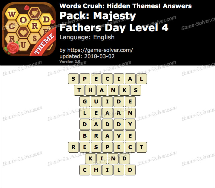 Words Crush Majesty-Fathers Day Level 4 Answers