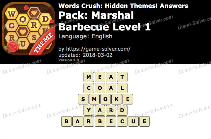 Words Crush Marshal-Barbecue Level 1 Answers