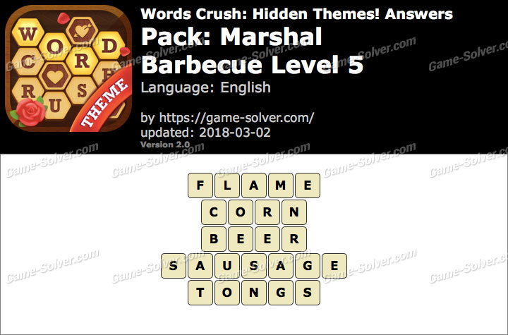 Words Crush Marshal-Barbecue Level 5 Answers