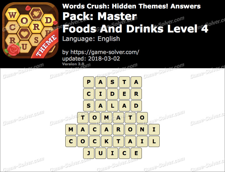 Words Crush Master-Foods And Drinks Level 4 Answers