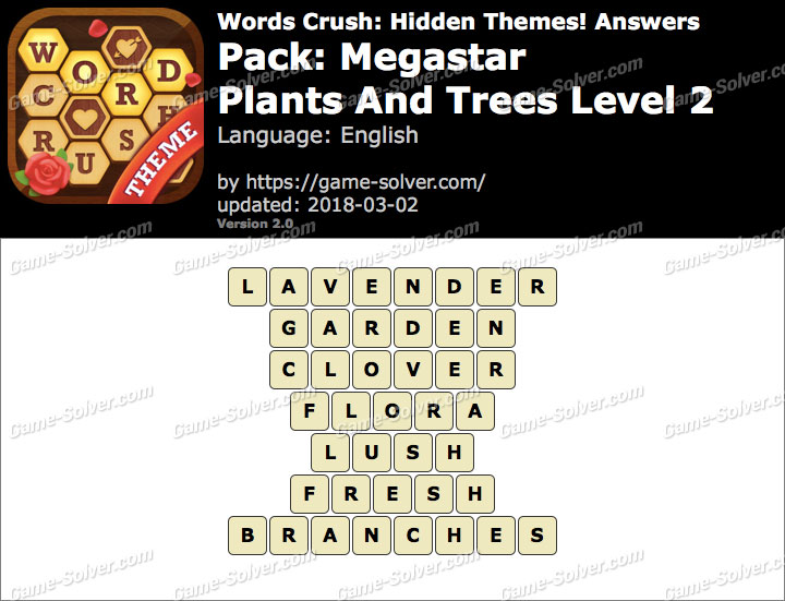 Words Crush Megastar-Plants And Trees Level 2 Answers