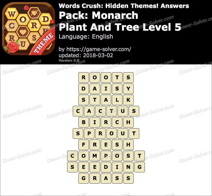 Words Crush Monarch-Plant And Tree Level 5 Answers