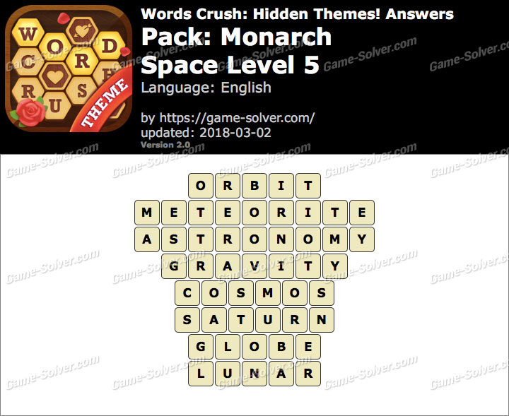 Words Crush Monarch-Space Level 5 Answers
