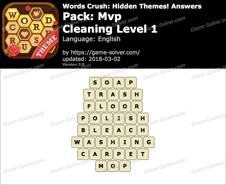 Words Crush Mvp-Cleaning Level 1 Answers