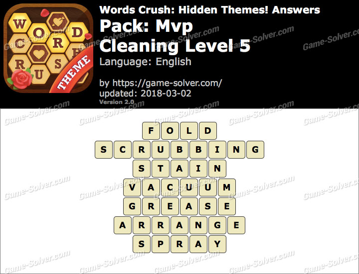 Words Crush Mvp-Cleaning Level 5 Answers