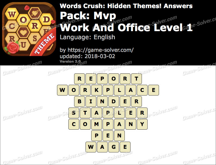 Words Crush Mvp-Work And Office Level 1 Answers