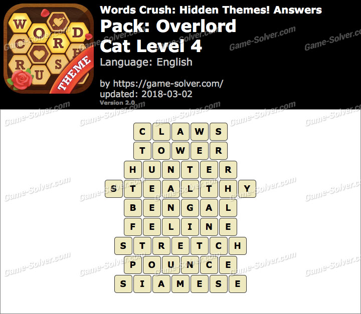 Words Crush Overlord-Cat Level 4 Answers