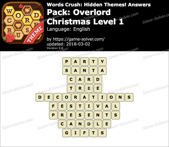 Words Crush Overlord-Christmas Level 1 Answers