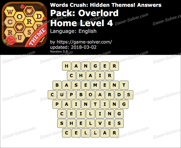 Words Crush Overlord-Home Level 4 Answers
