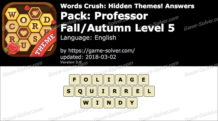 Words Crush Professor-Fall Autumn Level 5 Answers