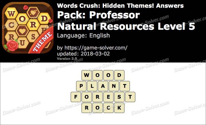 Words Crush Professor-Natural Resources Level 5 Answers