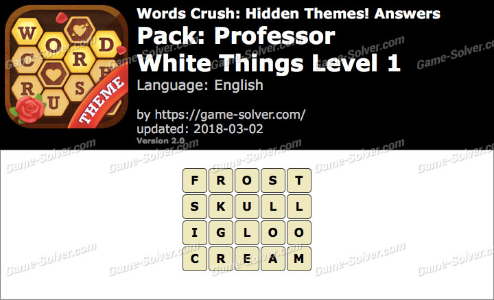 Words Crush Professor-White Things Level 1 Answers