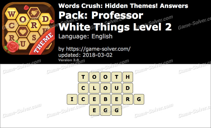 Words Crush Professor-White Things Level 2 Answers