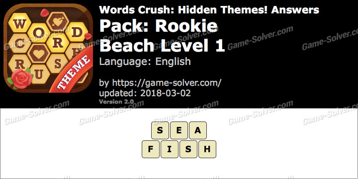 Words Crush Rookie-Beach Level 1 Answers