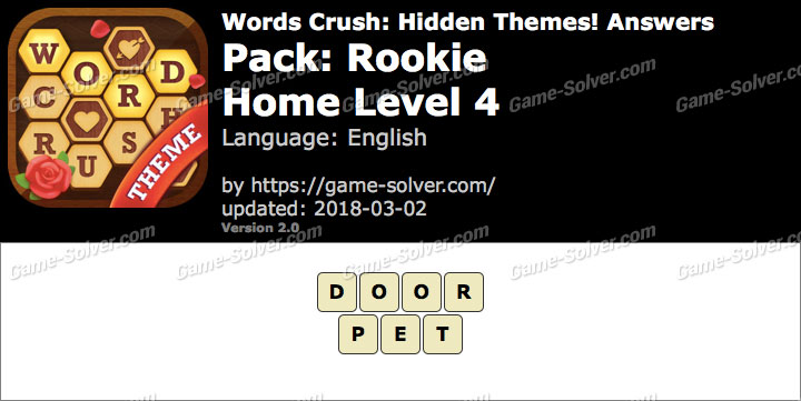 Words Crush Rookie-Home Level 4 Answers