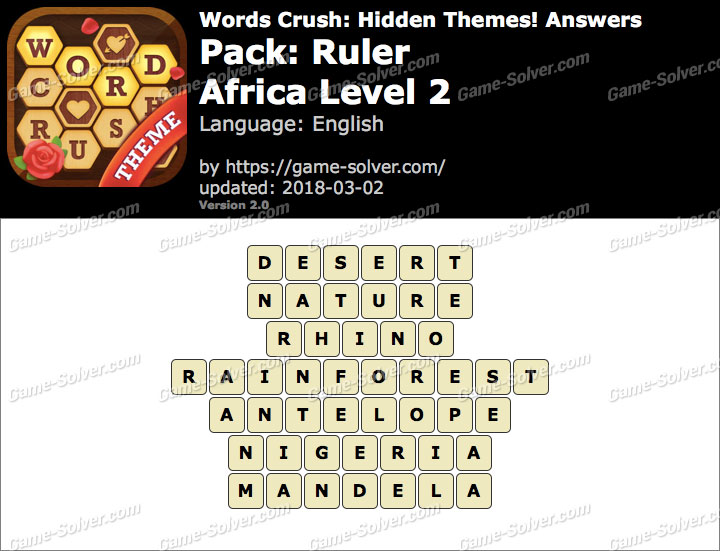 Words Crush Ruler-Africa Level 2 Answers