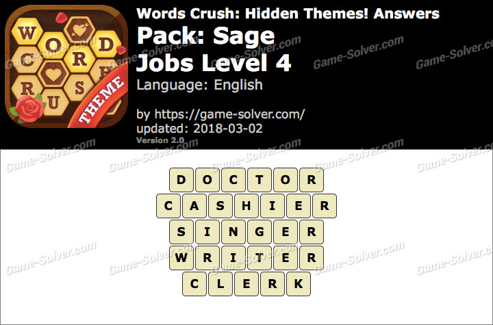 Words Crush Sage-Jobs Level 4 Answers