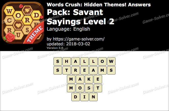 Words Crush Savant-Sayings Level 2 Answers