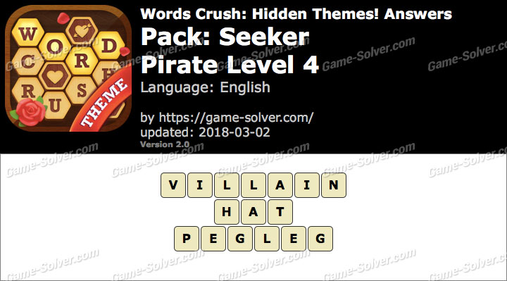 Words Crush Seeker-Pirate Level 4 Answers