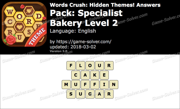 Words Crush Specialist-Bakery Level 2 Answers