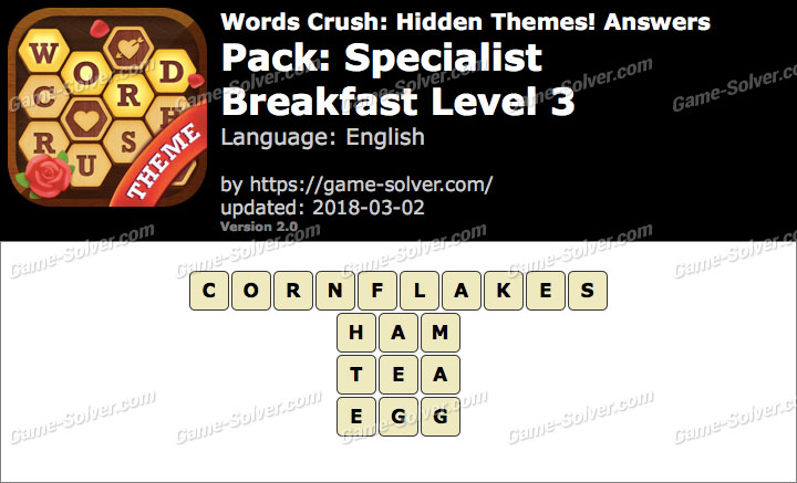 Words Crush Specialist-Breakfast Level 3 Answers