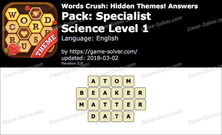 Words Crush Specialist-Science Level 1 Answers